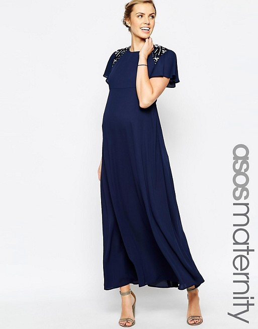 ASOS Maternity Maxi Dress With Embellished Shoulders | AS