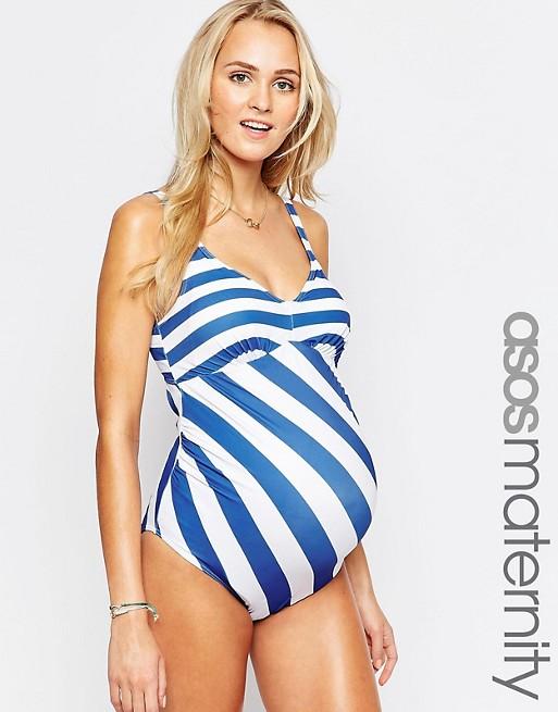 ASOS Maternity Swimsuit In Stripe | AS