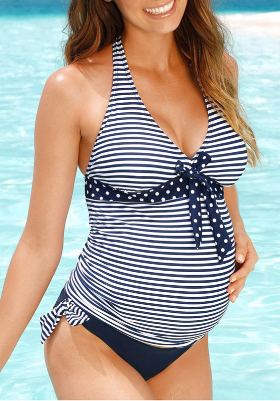 Blue-White Striped Bow Two Piece Deep V-neck Plus Size Maternity .