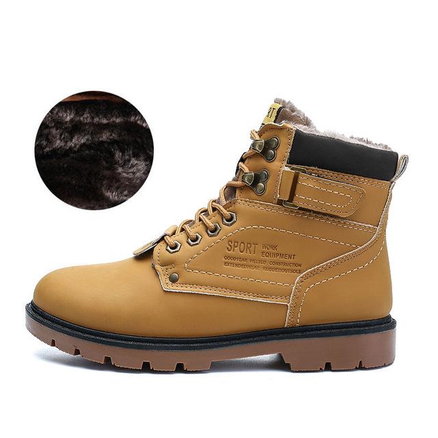 JKPUDUN Winter Ankle Snow Boots Men Casual Shoes Autumn Leather .