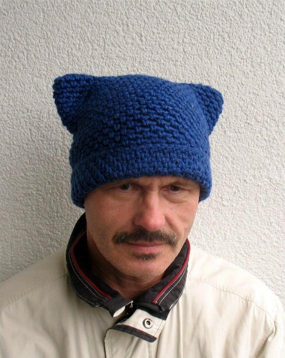 Mens winter pussy hat 100% natural wool Mens handmade pure   Et