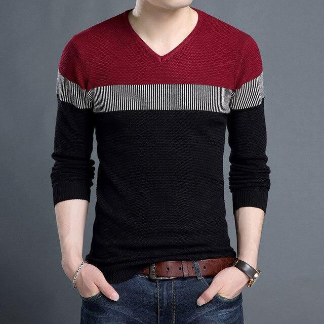 Sweaters Man Pullover V Neck Slim Korean Style Casual Mens Clothes .