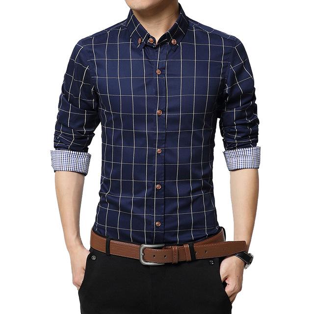 Plaid Mens Shirts Slim Fit Cotton 2019 Mens Dress Shirts Male .