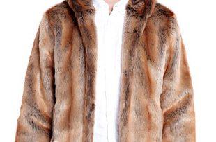 Men's Coyote Hooded Faux Fur Jacket | Mens Faux Fur Hooded Jackets .