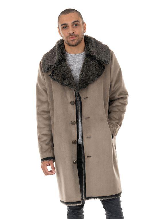 Men's Stone Faux Suede & Faux Fur Coat | Mens Faux Fur Coa