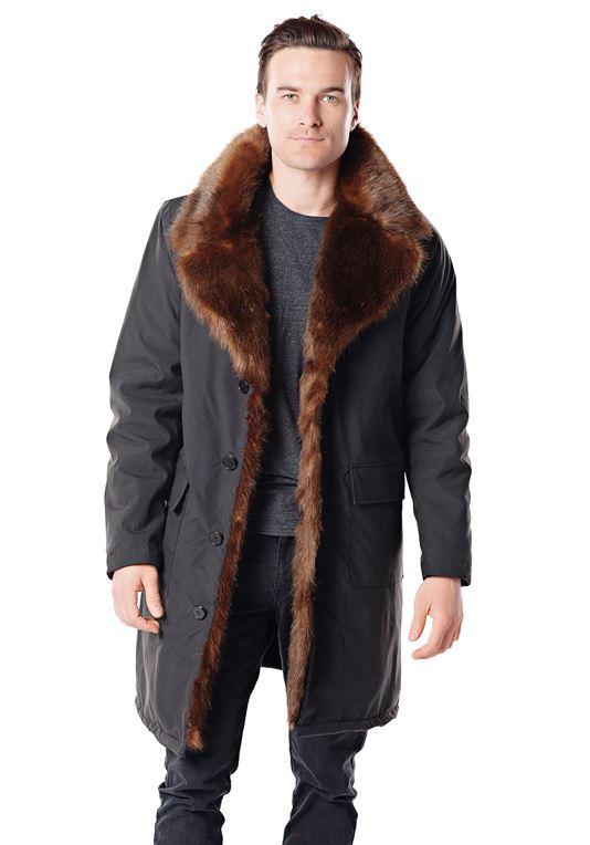 Men's Faux Fur-Trimmed Knee-Length Coat | Faux Fur Coa