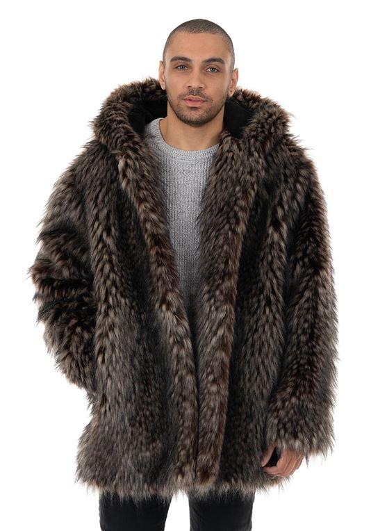 Men's Spotted Wolf Hooded Faux Fur Coat | Fabulous-Fu