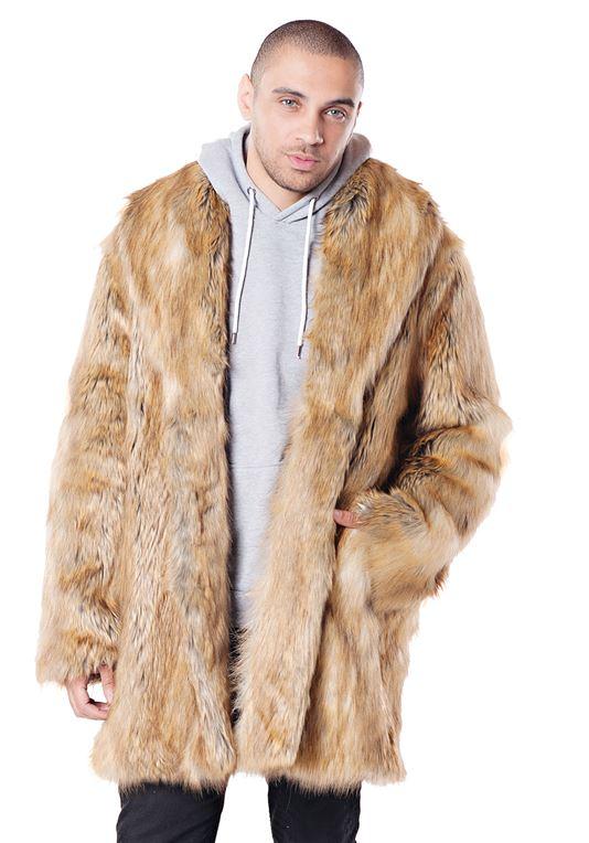 Men's Gold Fox Faux Fur Coat | Mens Faux Fur Coa