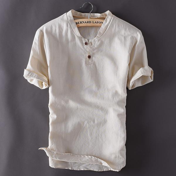 Mens Linen Shirts Short Sleeve Breathable 3 colors – appolowe