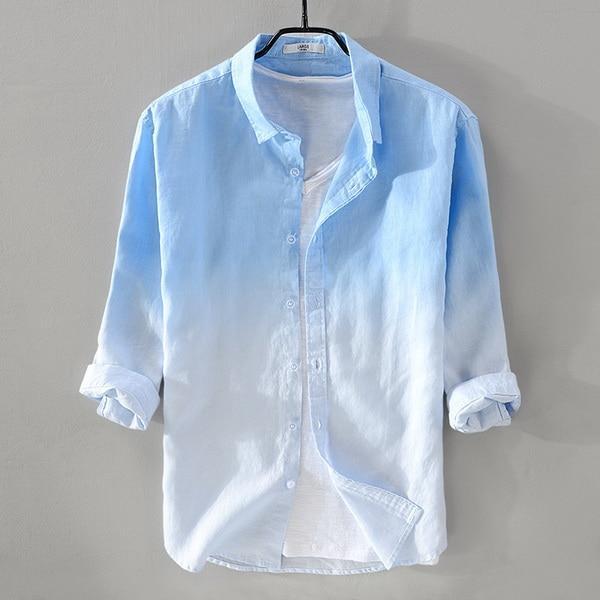 New summer men's linen shirt men brand three-quarter sleeve shirt .
