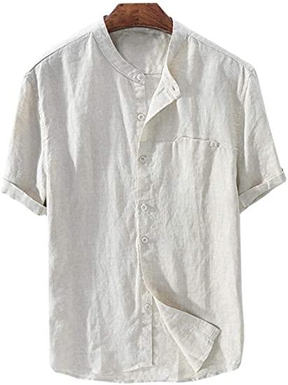 Mens Linen Shirts Beach Short Sleeve Casual T Shirt Button Up .