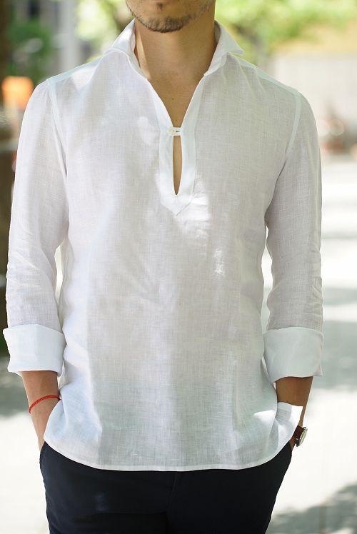 RING JACKET: Napoli/Linen Capri Shirt in white | Men shirt style .