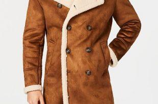 GUESS Men's Faux-Shearling Overcoat & Reviews - Coats .