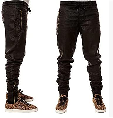 Zdddykyou Special Fashion zippers jogers Pant Men Black Joggers .