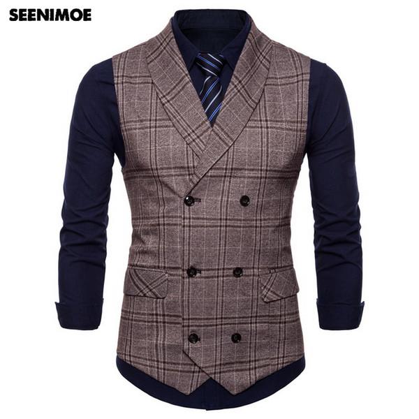 2020 Seenimoe 2019 Mens Waistcoats Stripe Plaid Formal Blazer .