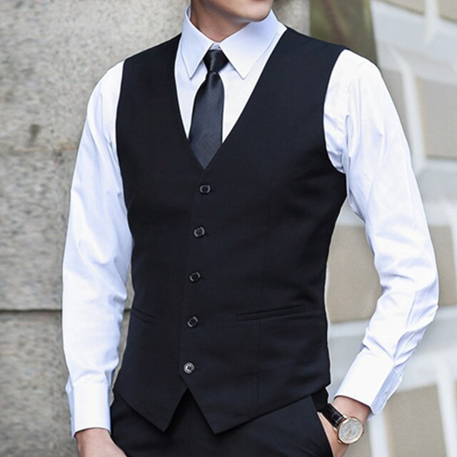 Slim Suits Vests Mens Waistcoats Fitted Colete Sleeveless Jacket .