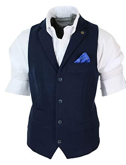 Mens Smart Casual Collar Waistcoat Slim Fit Felt Tweed Vintage .