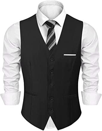 iClosam Men's Waistcoats Classic Paisley Vest Suit Set Slim Fit .