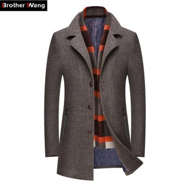 2019 Winter New Men's Casual Wool Trench Coat Business Fashion .