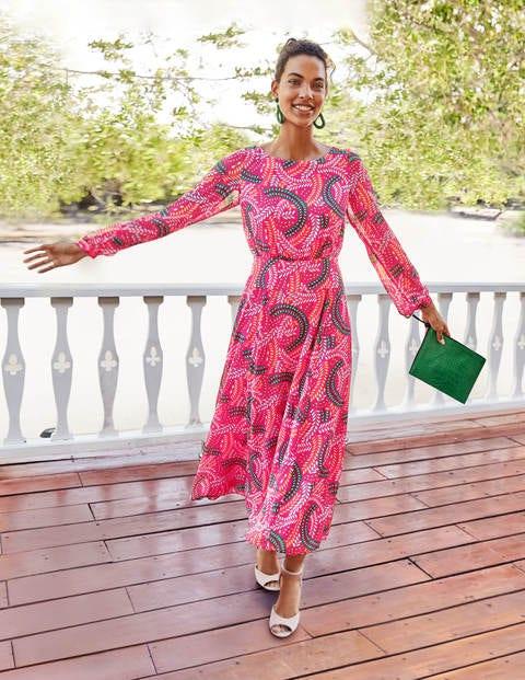 Ingrid Midi Dress - Party Pink, Swish | Boden