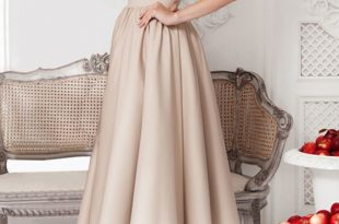 Apricot Plain Pleated Round Neck Elegant Midi Dress - Midi Dresses .