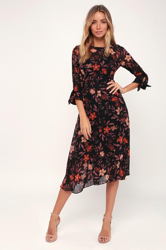 I. Madeline Dress - Black Floral Print Dress - Midi Dress - Dre