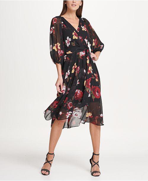 DKNY Balloon Sleeve Chiffon Midi Dress & Reviews - Dresses - Women .