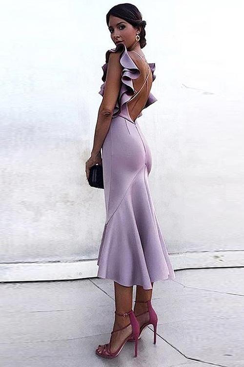 Cross-back Ruffle Up Fishtail Midi Dress | Fishtail midi dress .