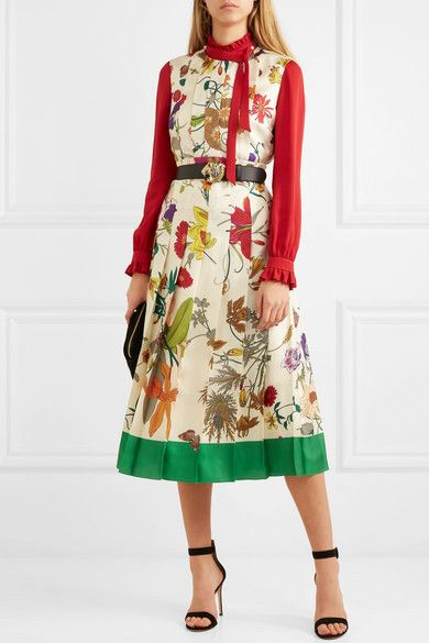 Gucci pleated floral-print silk midi dress and embellished ruffled .