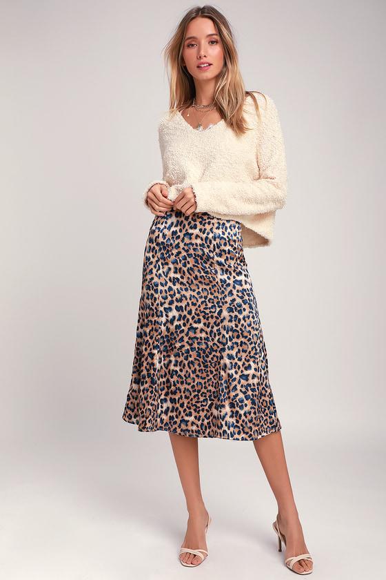 Chic Tan and Navy Blue Skirt - Leopard Print Skirt - Midi Ski