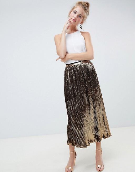 ASOS DESIGN pleated sequin midi skirt | AS