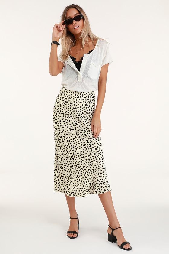 Moon River - Beige Leopard Print Skirt - Leopard Print Midi Ski