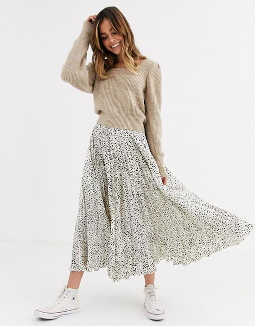 ASOS DESIGN satin pleat midi skirt in mono leopard print | AS