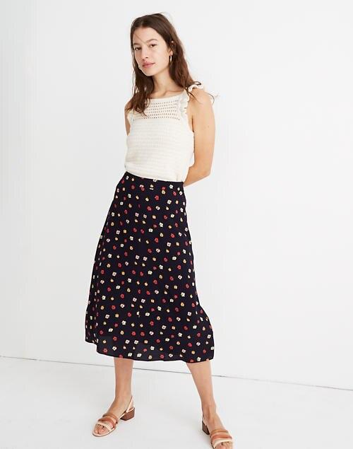 A-Line Midi Skirt in Confetti Flor