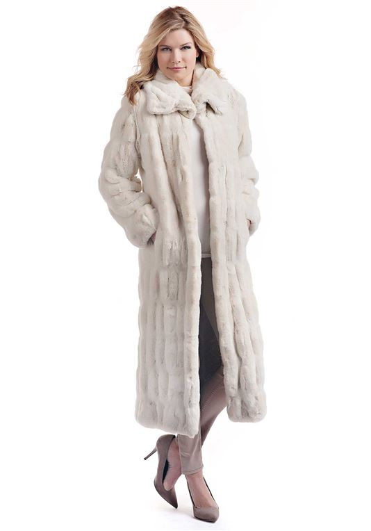 Women's Ivory Mink Couture Full-Length Faux Fur Co