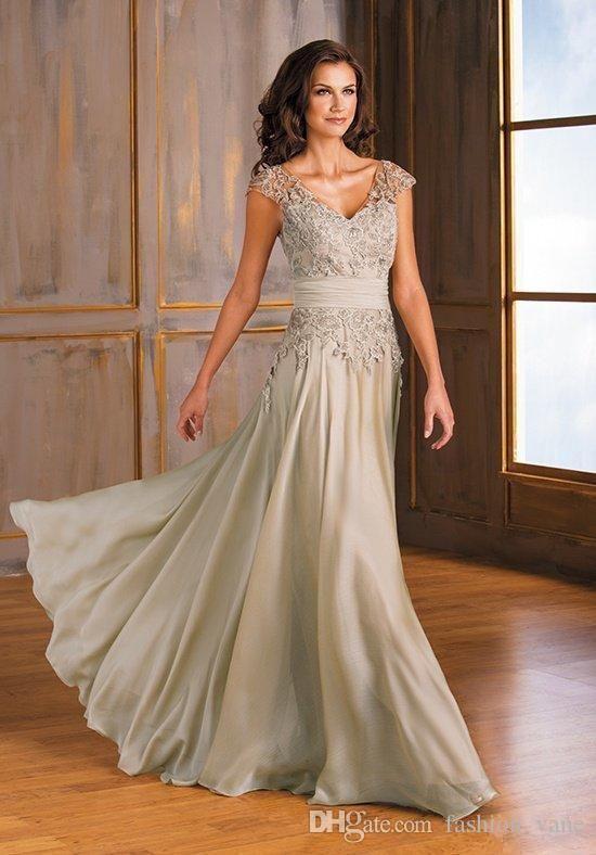 2018 Vintage Chiffon Mother Of The Bride Dresses V Neck Applique .