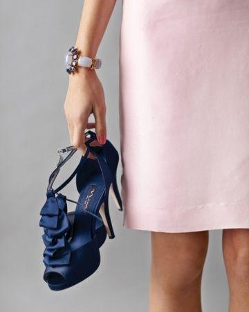 Wedding Colors: Pink Plus...   Blush wedding shoes, Navy blue .
