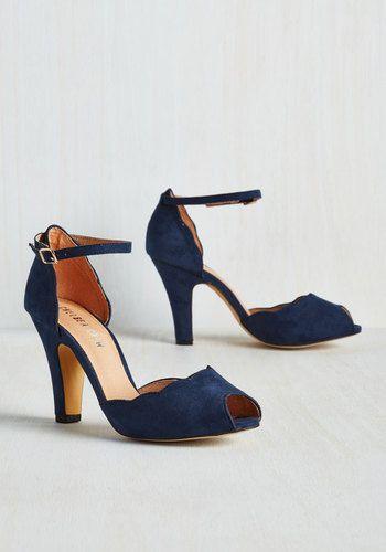 New 1940s Shoes: Wedge, Slingback, Oxford, Peep Toe   Navy wedding .