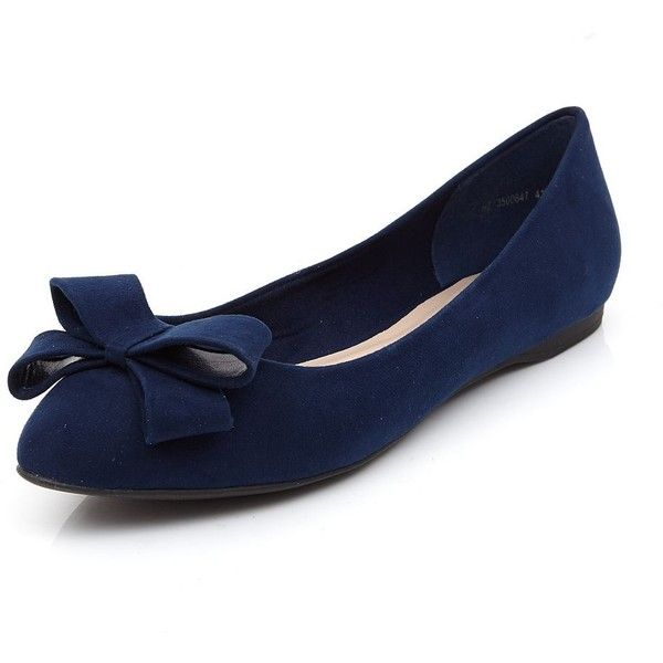 Navy Suedette Bow Front Pointed Ballet Pumps ($24) ❤ liked on .