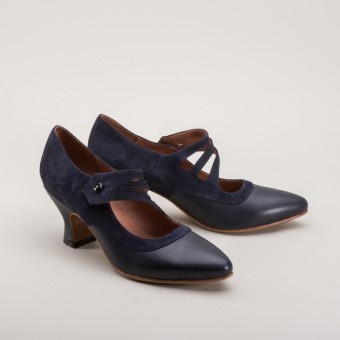 "American Duchess : ""Mae"" Edwardian Shoes (Navy Blue)(1900-192"