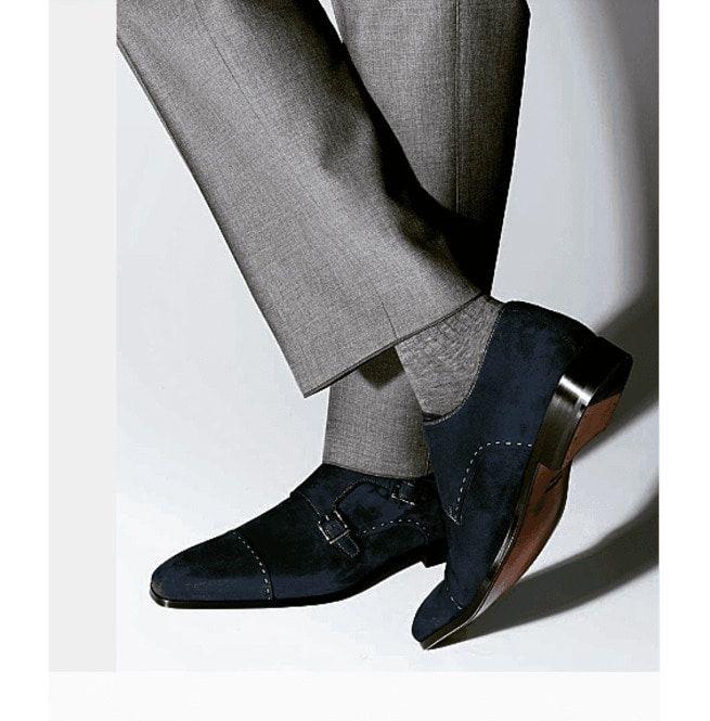 Handmade Men Monk Strap Shoes, Suede Shoes, Navy Blue   RebelsMark