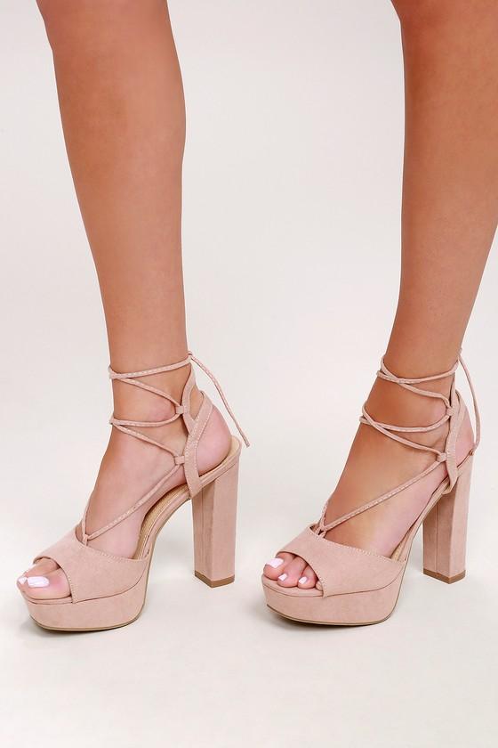 Sexy Platform Heels - Lace-Up Heels - Nude Hee
