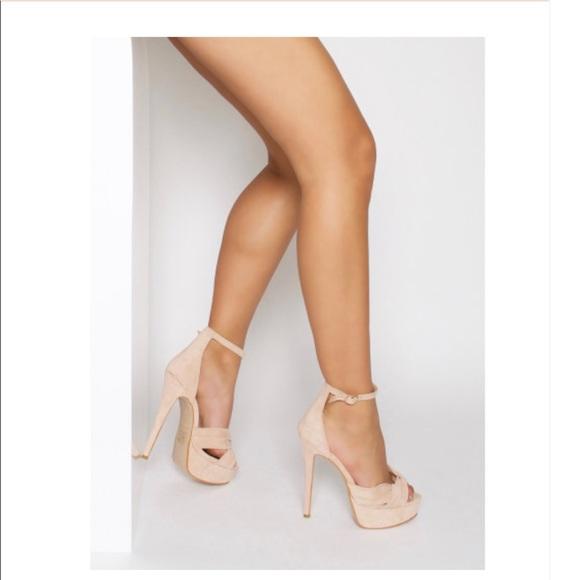 Simmi Shoes Shoes | Nude Suede Crossover Platform Heels | Poshma