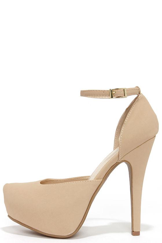 Pretty Nude Heels - Platform Heels - High Heels - $32.