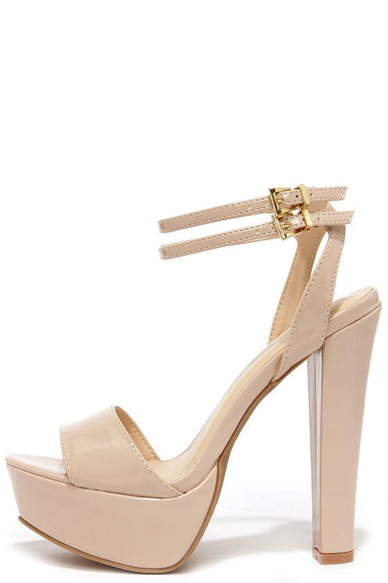 Cute Nude Heels - Platform Heels - Platform Sandals - $28.
