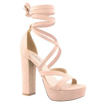 Amelia Nude Suede Lace Up Platform Heels from simmi.com | Shoes