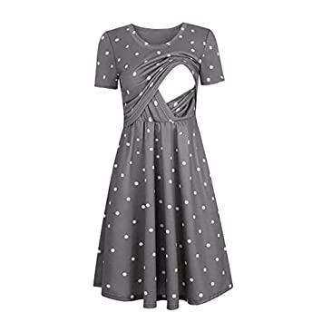 Amazon.com : Women Dot Print Maternity Dresses Tank Short Sleeve .