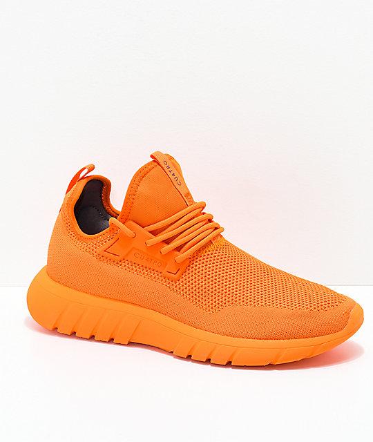 CU4TRO Bolt Caution Orange Knit Shoes   Zumi
