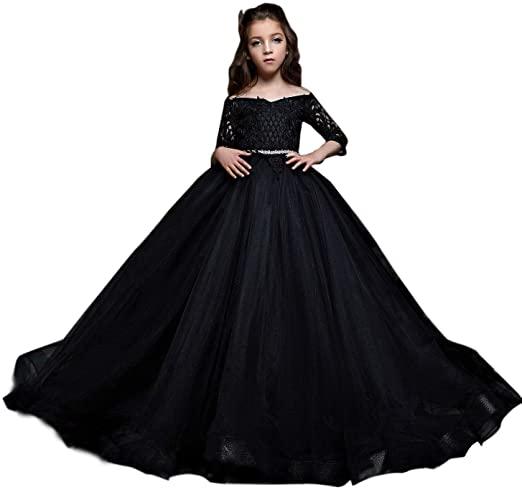 Amazon.com: hengyud Black Pageant Dresses for Little Girls Gothic .