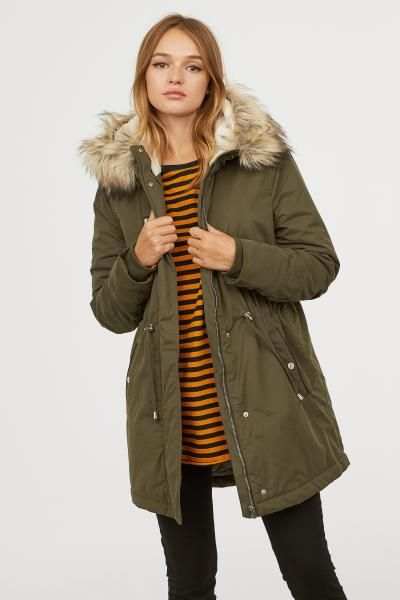 Padded Parka with Hood | Parka, Green parka jacket, Parka outf
